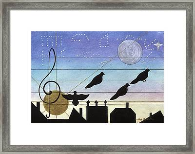 Birds On Wires Framed Print by Sally Appleby