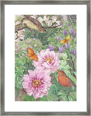 Birds Peony Garden Illustration Framed Print