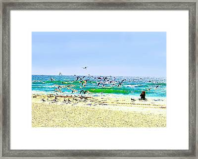 Framed Print featuring the photograph Birds Taking Off by Ellen O'Reilly