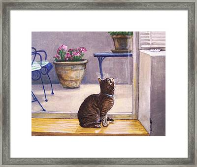 Framed Print featuring the painting Birdwatching by Laura Aceto