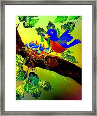 Birdy Baby Breakfast Time Framed Print by Hanne Lore Koehler