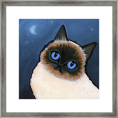 Birman Blue Night Framed Print by Leanne Wilkes