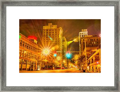 Birmingham Alabama Evening Skyline Framed Print by Alex Grichenko