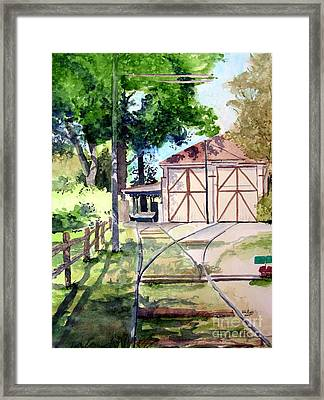 Birney Trolley Barn Framed Print by Tom Riggs