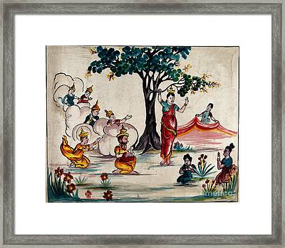 Birth Of The Buddha Scene With Queen Framed Print
