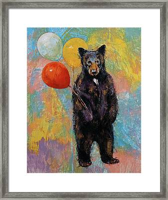 Birthday Bear Framed Print by Michael Creese
