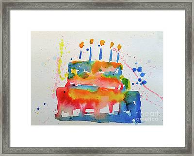 Framed Print featuring the painting Birthday Blue Cake by Claire Bull