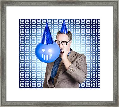 Birthday Businessman Blowing Up Smiling Balloon Framed Print by Jorgo Photography - Wall Art Gallery