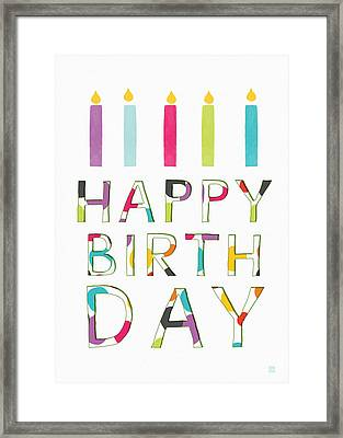 Birthday Candles- Art By Linda Woods Framed Print by Linda Woods
