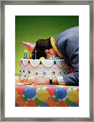 Birthday Depression - Man's Face Buried In A Birthday Cake Framed Print by Stan Fellerman