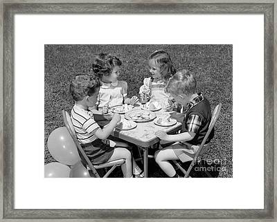 Birthday Party On The Lawn, C.1950s Framed Print