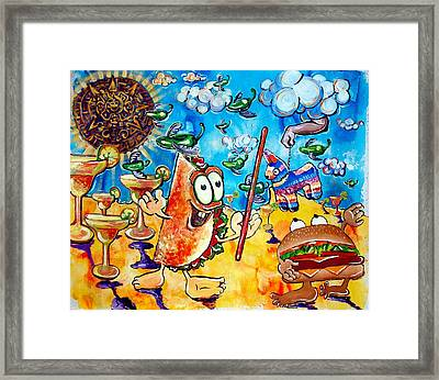 Birthday Party With Mister Taco And Piata Framed Print by Charles Harrison Pompa