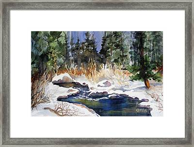Framed Print featuring the painting Bishop Creek Winter by Pat Crowther
