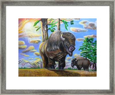 Bison Acrylic Painting Framed Print