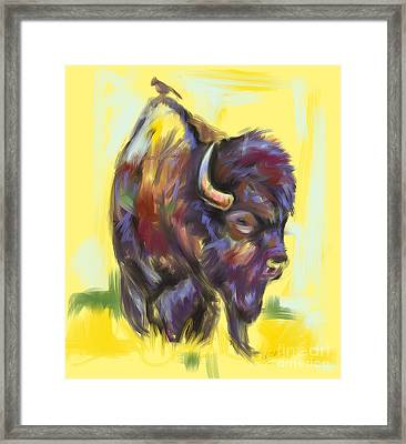 Framed Print featuring the painting Bison And Bird by Go Van Kampen