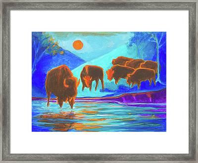 Bison Art - Seven Bison At Sunrise Yosemite Painting T Bertram Poole Framed Print by Thomas Bertram POOLE