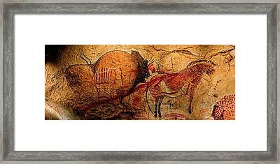 Bison Horse And Other Animals Closer - Narrow Version Framed Print