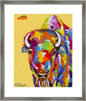 Bison In Yellow Framed Print by Tracy Miller