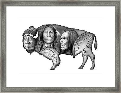 Bison Indian Montage 2 Framed Print by Greg Joens