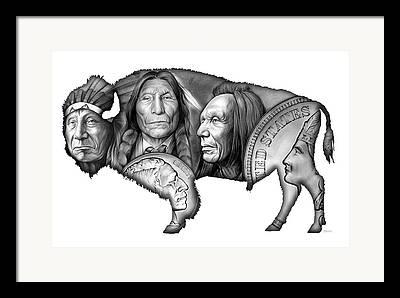 Native Americans Drawings Framed Prints