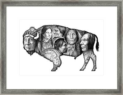 Bison Indian Montage Framed Print by Greg Joens