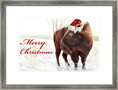Bison Merry Christmas Framed Print