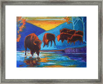 Bison Turquoise Hill Sunset Acrylic And Ink Painting Bertram Poole Framed Print by Thomas Bertram POOLE
