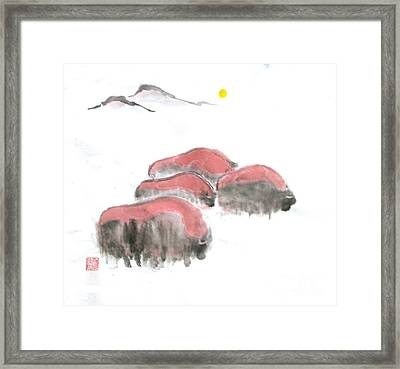 Bisons In Snow I Framed Print by Mui-Joo Wee