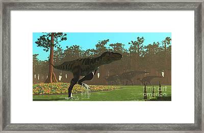 Bistahieversor Dinosaur Framed Print by Corey Ford