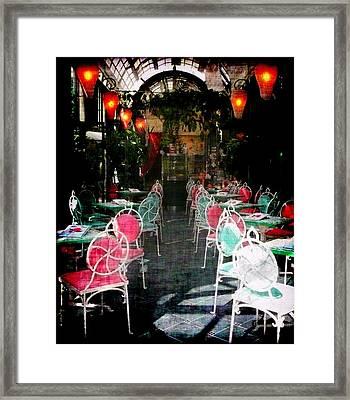 Bistro Chairs Framed Print by Lori Seaman