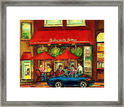 Bistro On Greene Avenue In Montreal Framed Print by Carole Spandau