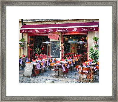 Bistro Open For Lunch Framed Print