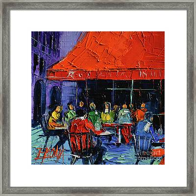 Bistrot Rouge Rendezvous Framed Print by Mona Edulesco