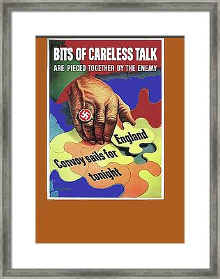 Bits Of Careless Talk Propaganda C. 1942 Color Added 2016 Framed Print by David Lee Guss