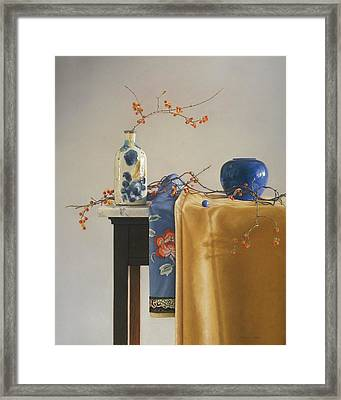 Bittersweet With Blue Framed Print by Barbara Groff