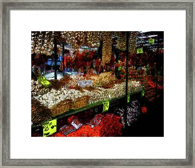 Biward Market Garlic Framed Print