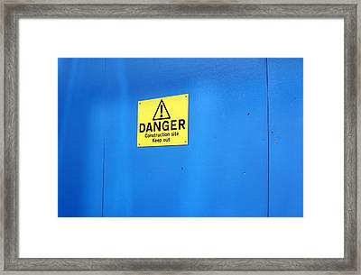 Bkue Warning Framed Print by Jez C Self