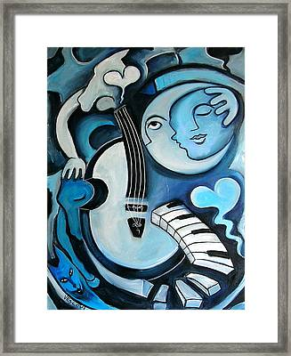 Black And Bleu Framed Print