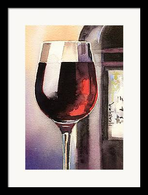 Long Stem Wine Glass Paintings Framed Prints