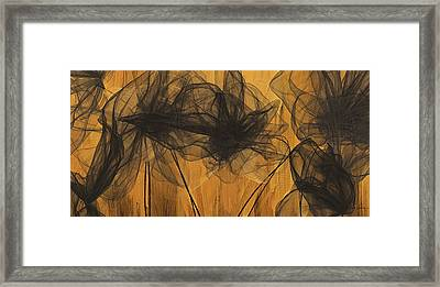 Black And Gold Abstract Art Framed Print by Lourry Legarde