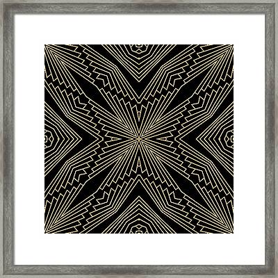 Black And Gold Art Deco Filigree 003 Framed Print