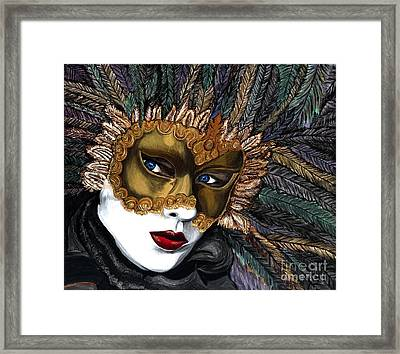 Black And Gold Carnival Mask Framed Print by Patty Vicknair