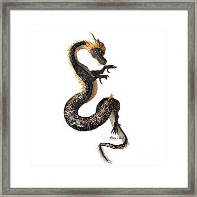 Black And Gold Dragon Framed Print by Corey Ford