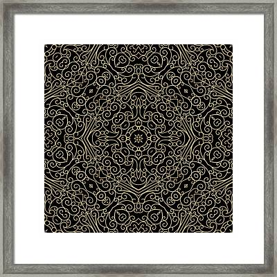 Black And Gold Filigree 002 Framed Print