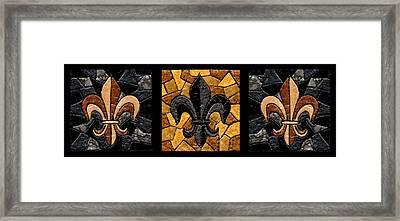 Black And Gold Fleur De Lis Triptych Framed Print