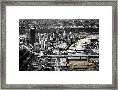 Black And Gold Pittsburgh  Framed Print by Emmanuel Panagiotakis