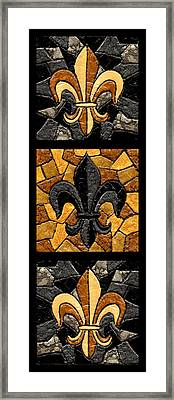 Black And Gold Triple Fleur De Lis Framed Print by Elaine Hodges