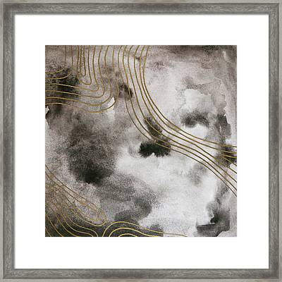 Black And Gold Watercolor Framed Print