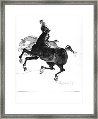 Black And Gray Framed Print by Mary Armstrong