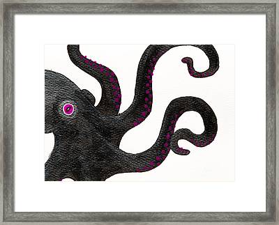Black And Purple Octopus Framed Print